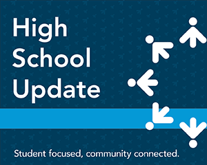 High school update graphic with Lakeville logo