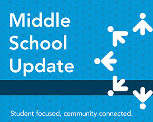 Middle school update graphic with Lakeville logo