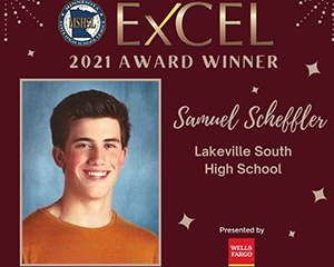 Excel Award Winner Image with Photo of High School Boy