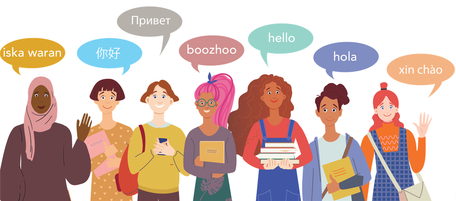 Illustration of people saying hello in different languages