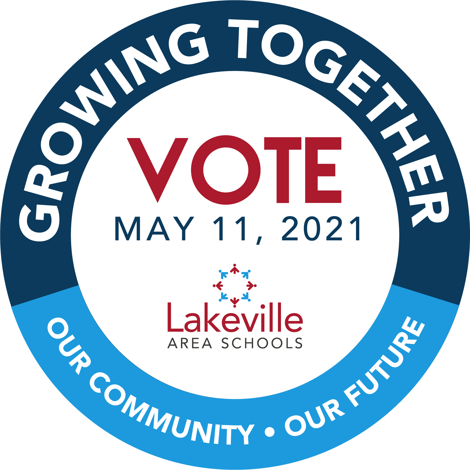 Referendum logo. Growing together. Vote May 11, 2021