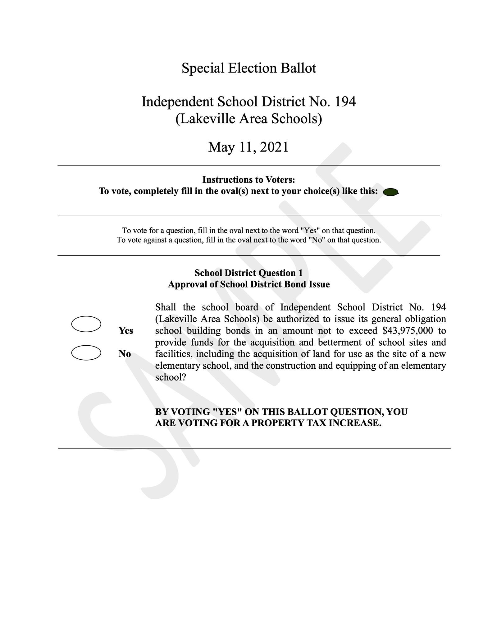 Image of the Referendum 2021 Sample Ballot